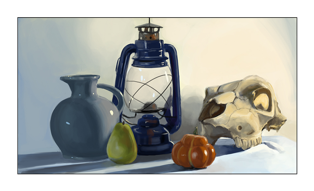 still life digital painting skull pumpkin pear