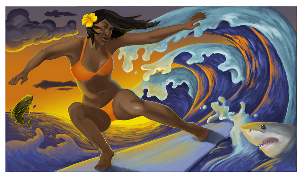 hawaiian surfer digital painting stylized