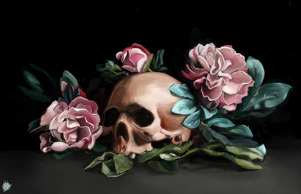 Skull and Flowers Kelsey Watkins